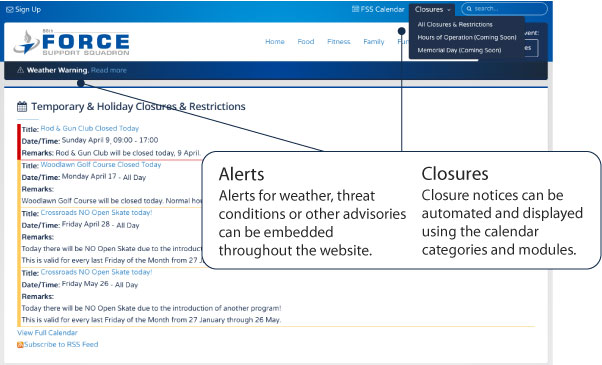alerts and closures